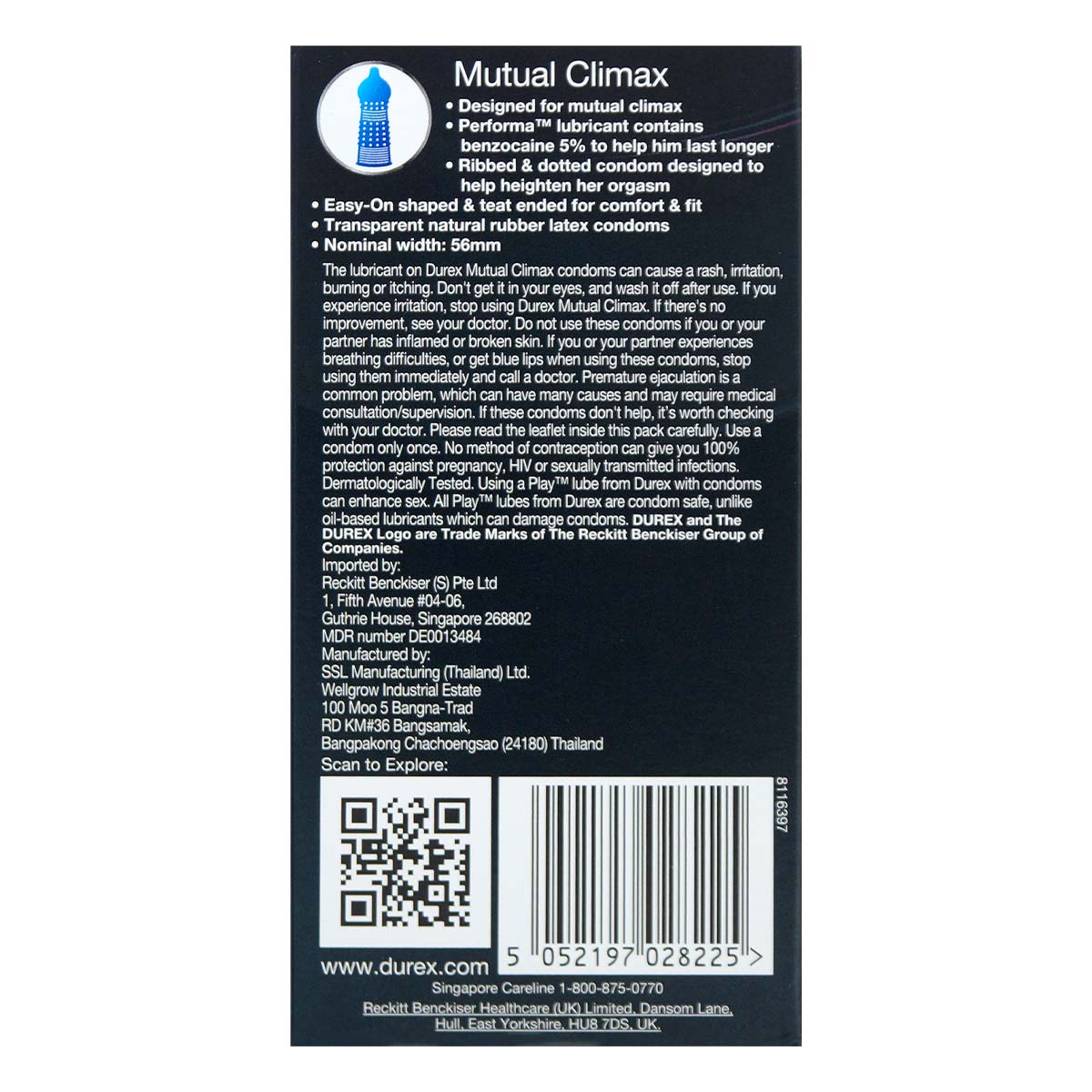 Durex Mutual Climax 12's Pack Latex Condom